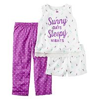 Baby Girl Carter's Graphic Tank Top, Printed Shorts & Polka-Dot Pants Pajama Set