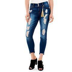 Juniors' Wallflower Ripped Step Hem Skinny Jeans