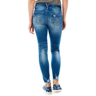 Juniors' Wallflower Faded Ripped Skinny Jeans