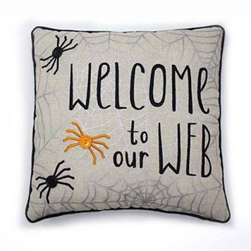 Celebrate Halloween Together Welcome To Our Web Throw Pillow