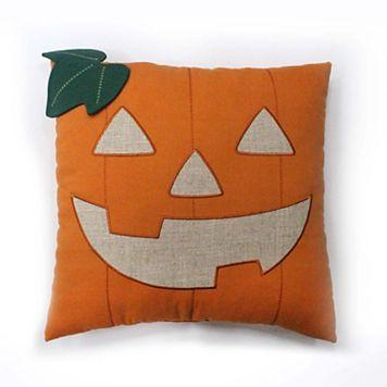 Celebrate Halloween Together Linen Pumpkin Face Throw Pillow