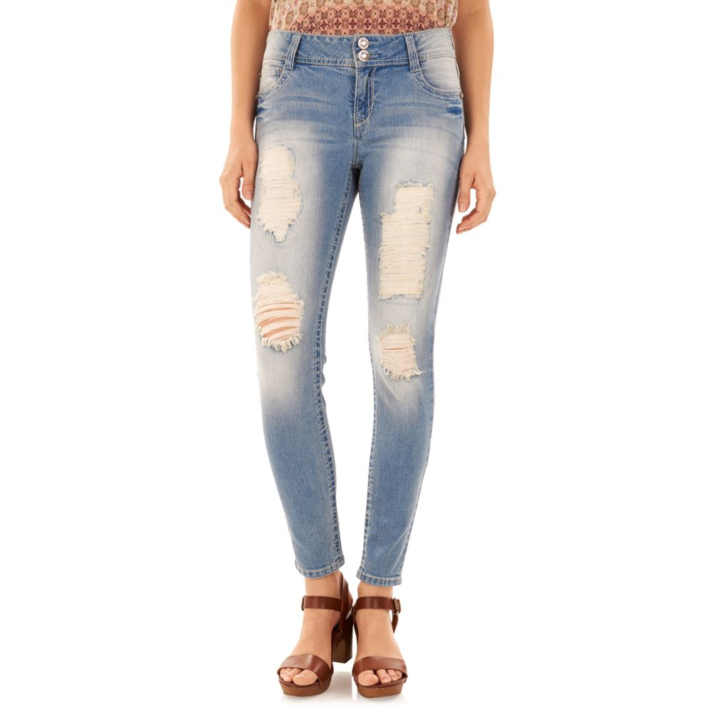 Wallflower Curvy Ripped Light Wash Skinny Jeans
