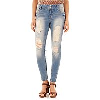 Juniors' Wallflower Curvy Ripped Light Wash Skinny Jeans