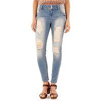 Juniors' Wallflower Curvy Ripped Light Wash Skinny Jeans