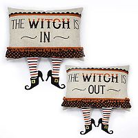 Celebrate Halloween Together Witch Dangle Legs Reversible Throw Pillow