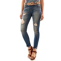 Juniors' Wallflower Curvy Frayed Hem Ripped Skinny Jeans