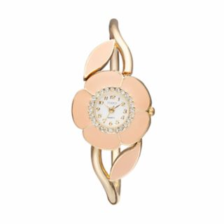 Studio Time Women's Crystal Enameled Floral Bangle Watch