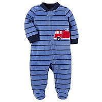 Baby Boy Carter's Striped Fire Truck Microfleece Sleep & Play