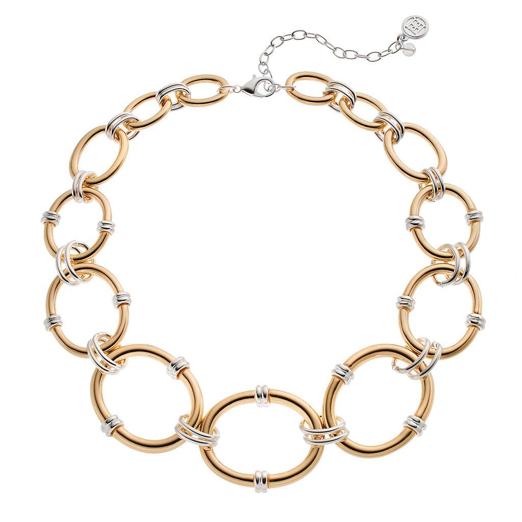 Dana Buchman Two Tone Graduated Oval Link Necklace