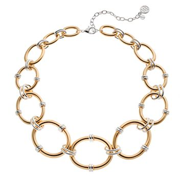 Dana Buchman Two Tone Graduated Oval Link Necklace