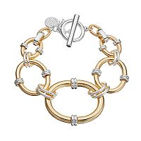 Dana Buchman Two Tone Graduated Oval Link Toggle Bracelet