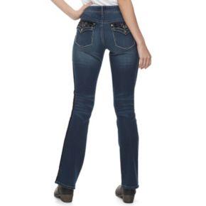 Juniors' Hydraulic Lola Velvet Stripe Bootcut Jeans