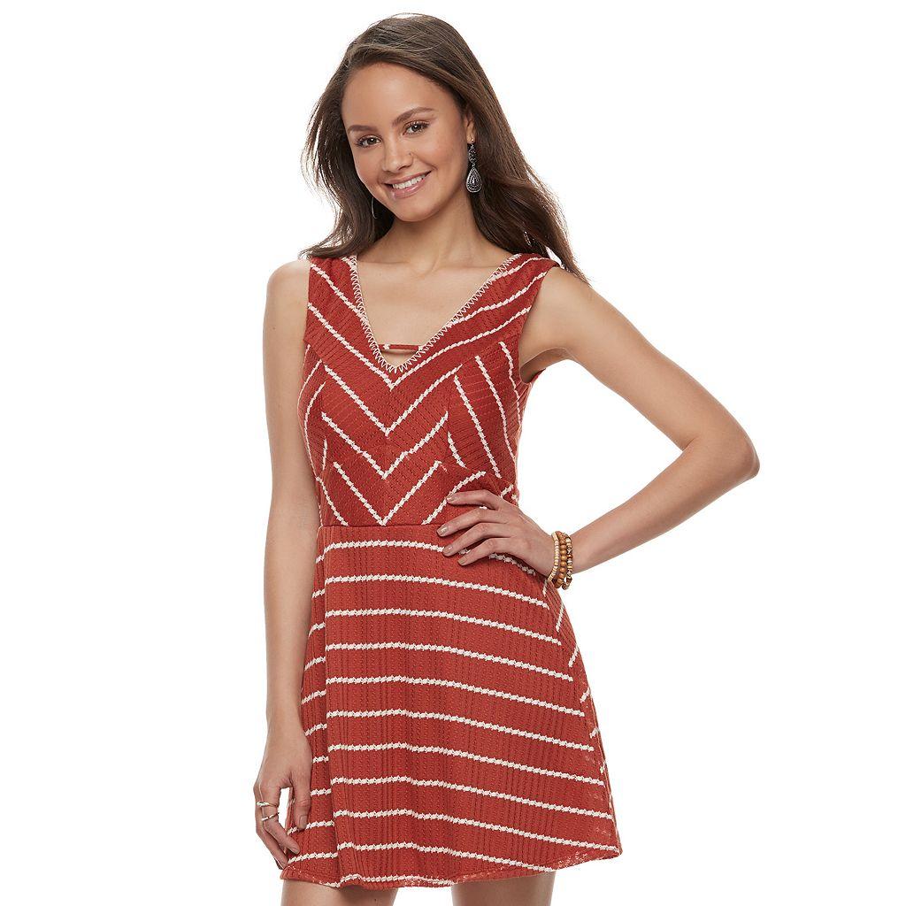 Juniors' Trixxi Striped Knit Skater Dress