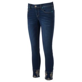 Juniors' Hydraulic Bailey Embellished Ankle Skinny Jeans