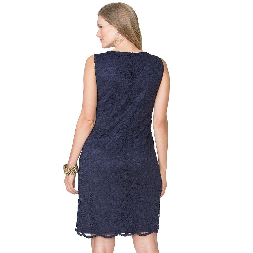 Plus Size Chaps Lace Shift Dress