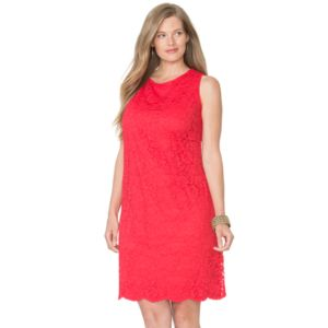 Plus Size Chaps Lace Shift Dress