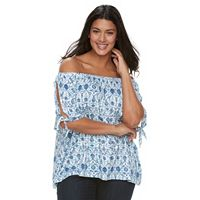 Plus Size Design 365 Printed Off-the-Shoulder Top