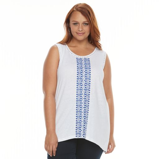 Plus Size Design 365 Embroidered Linen Blend Tank