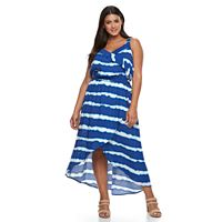 Plus Size Design 365 Tie-Dye Faux-Wrap Dress