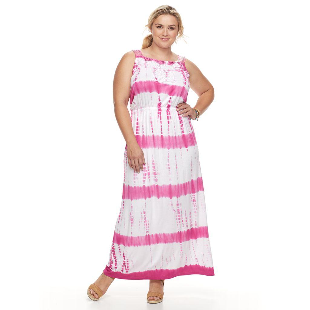 Plus Size Design 365 Tie-Dye Maxi Dress
