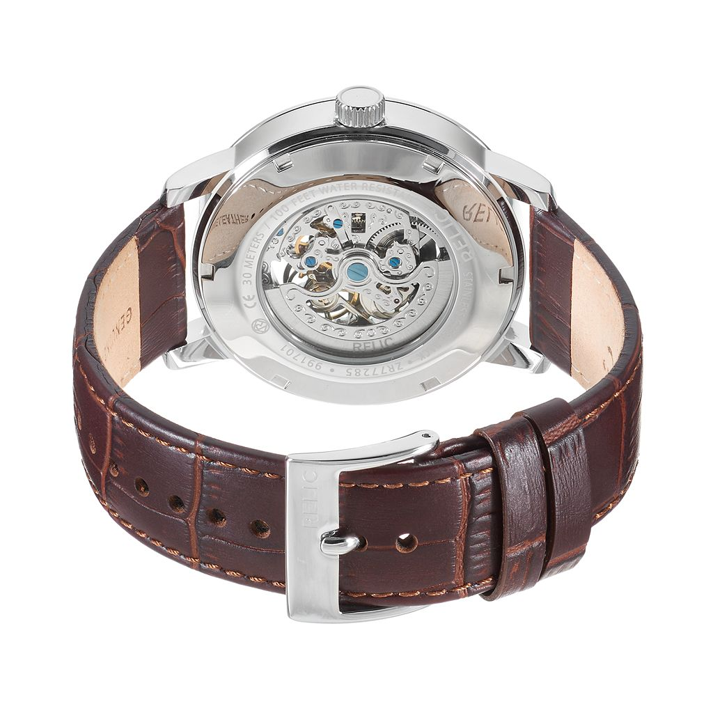 Relic Men's Bryson Leather Automatic Skeleton Watch