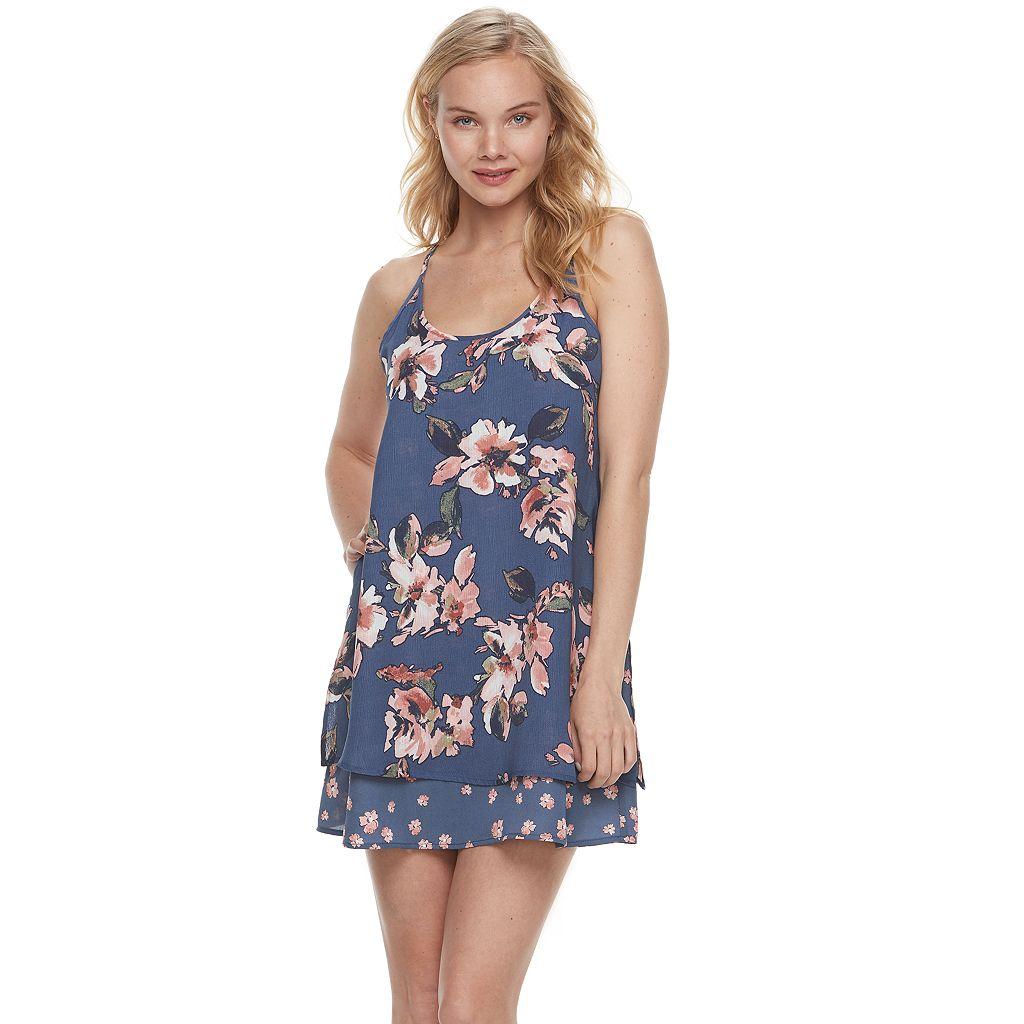 Juniors' Trixxi Floral Tiered Shift Dress