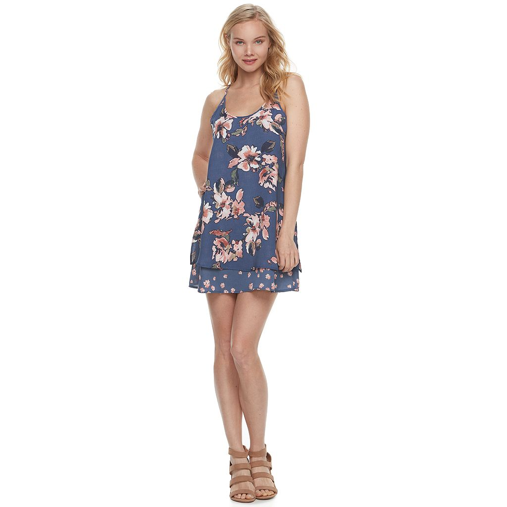 Juniors' Trixxi Floral Tiered Shift Dress