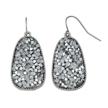Faceted Stone Nickel Free Oblong Drop Earrings