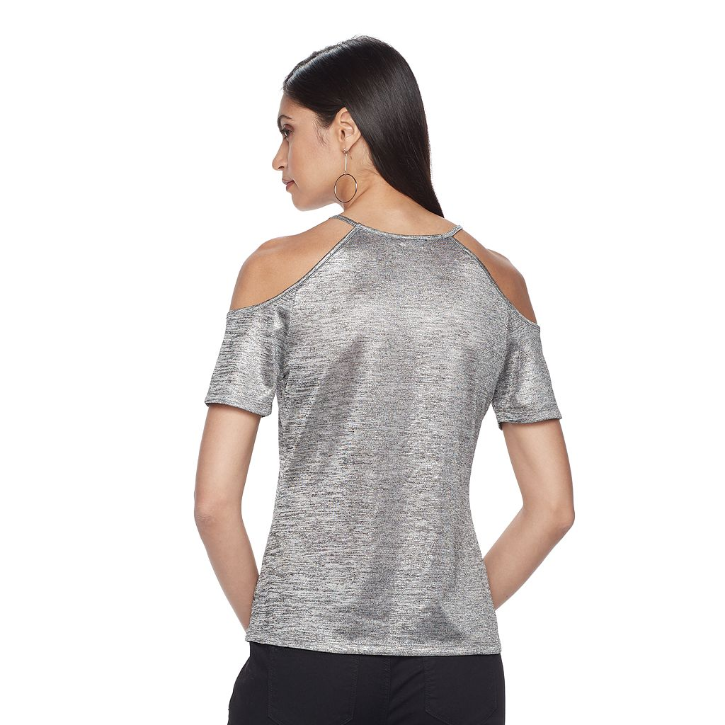 Women's Jennifer Lopez Metallic Cold-Shoulder Tee