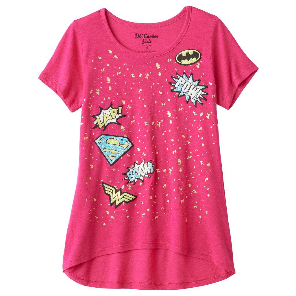 Girls 7-16 DC Comics Super Hero Girls High-Low Splatter Graphic Tee