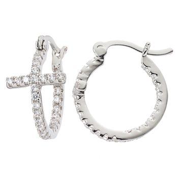 Fleur Silver Tone Cubic Zirconia Cross Hoop Earrings