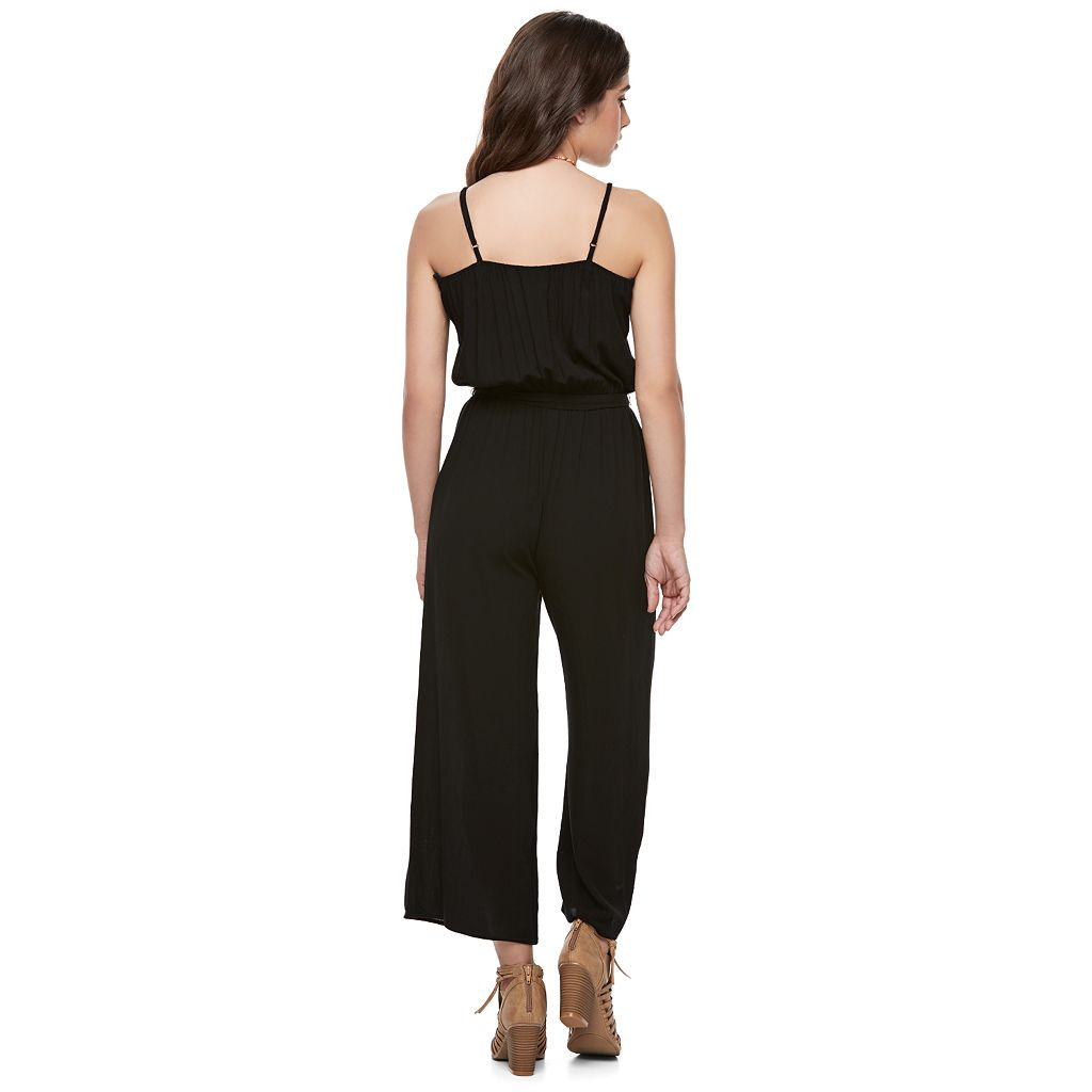 Juniors' Joe B Surplice Culotte Jumpsuit