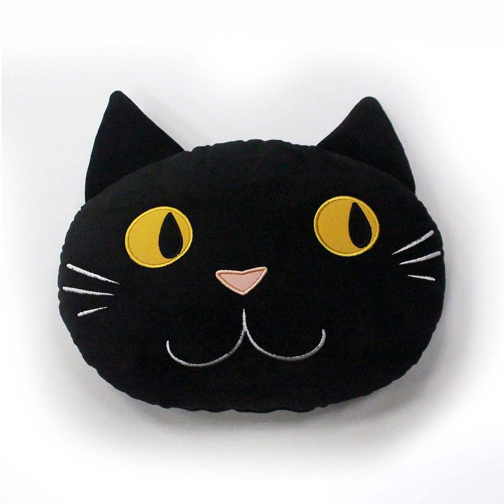 Celebrate Halloween Together Cat Head Throw Pillow