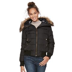 Women's Apt. 9® Puffer Faux-Fur Trim Bomber Jacket