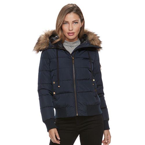 Women's Apt. 9® Puffer Faux-Fur Trim Bomber Jacket