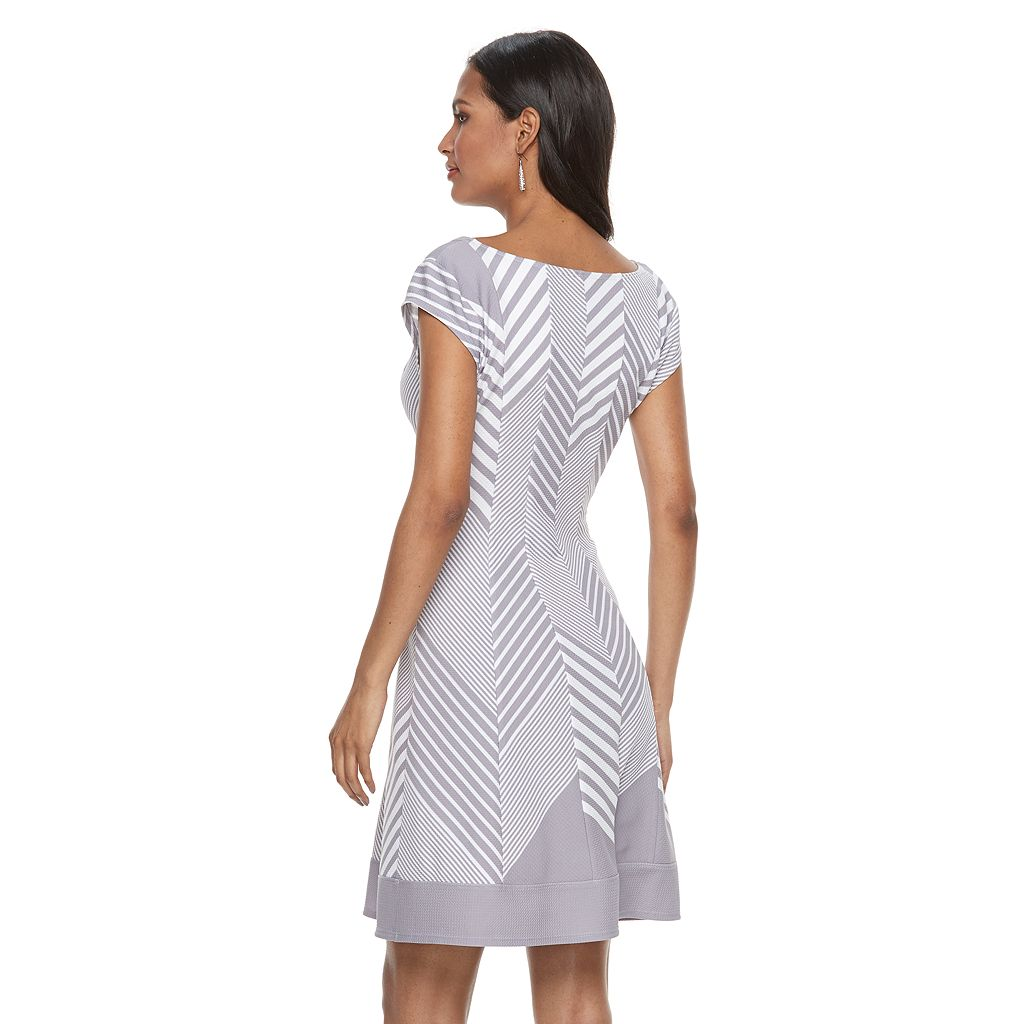 Women's Bethany Chevron Fit & Flare Dress