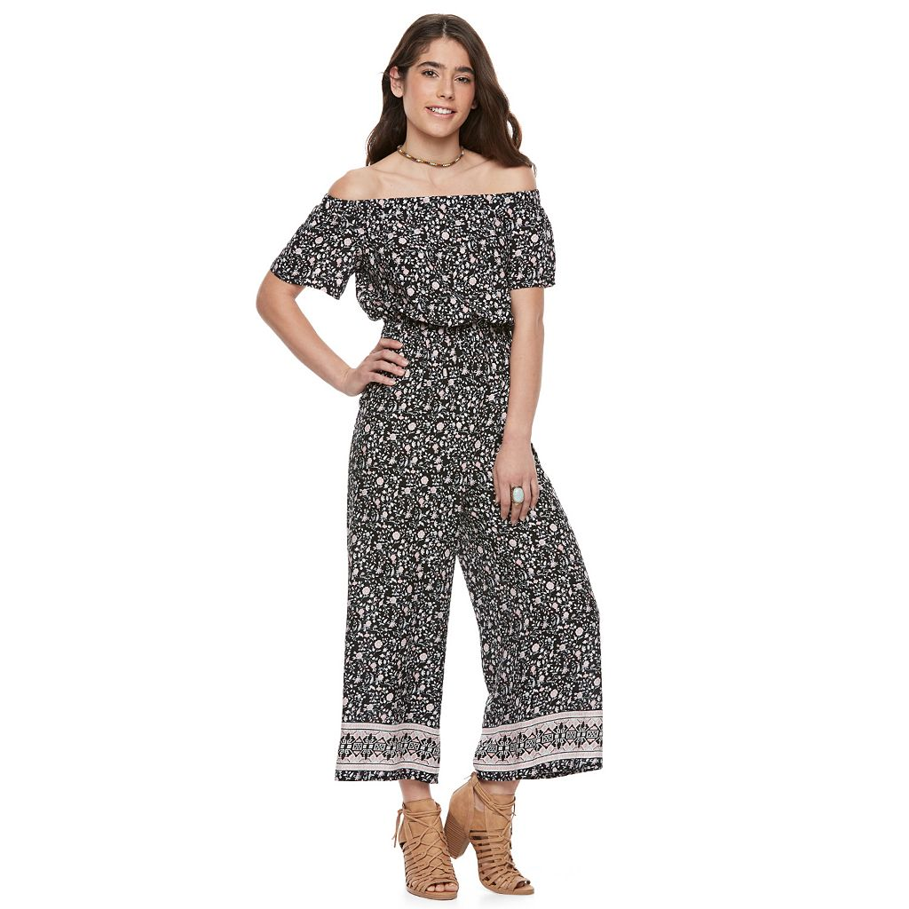 Juniors' Joe B Off-the-Shoulder Culotte Jumpsuit