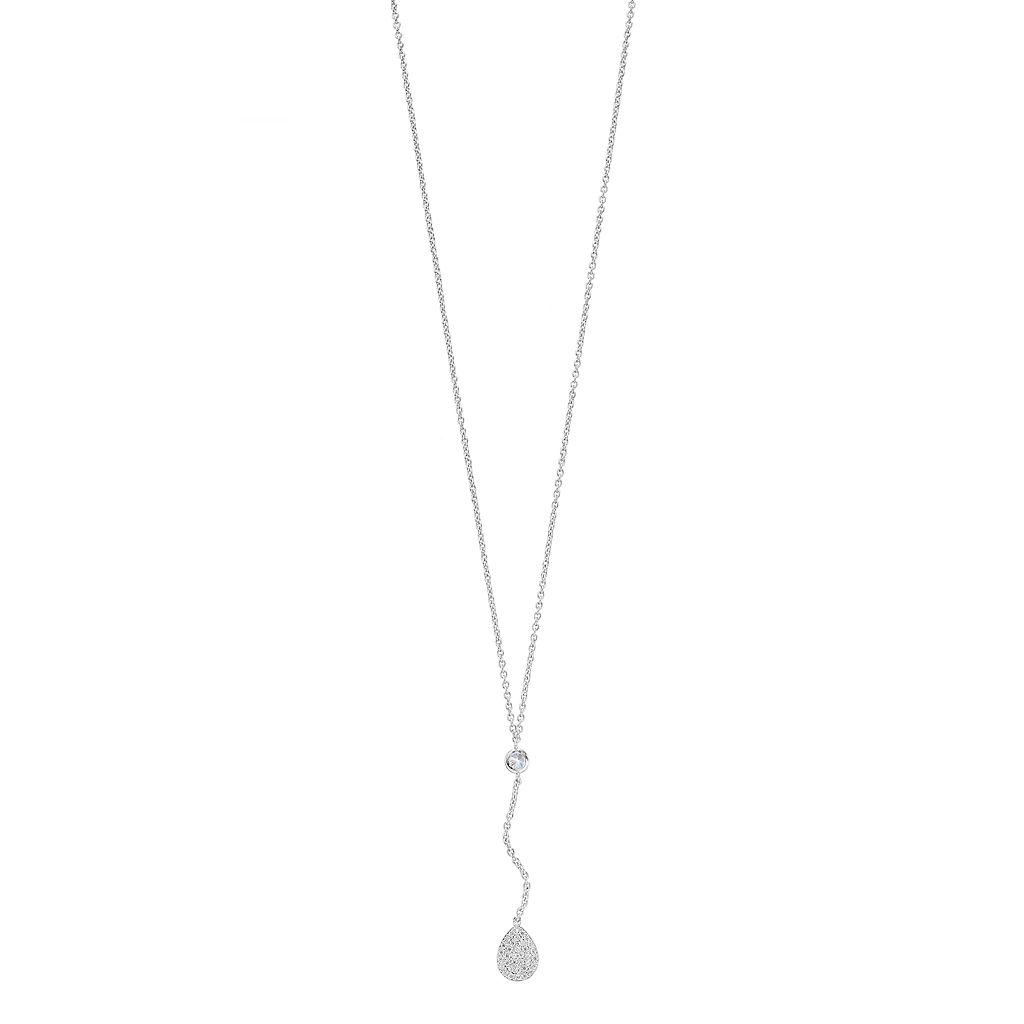 Fleur Silver Tone Cubic Zirconia Teardrop Y Necklace