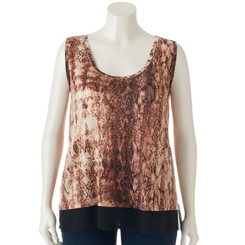 Plus Size Jennifer Lopez Printed Mesh-Trim Tank