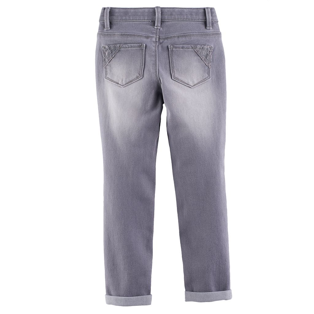 Girls 4-12 SONOMA Goods for Life™ Lace Detail Gray Jeggings