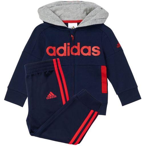 Baby Boy adidas Logo Hooded Jacket & Pants Set