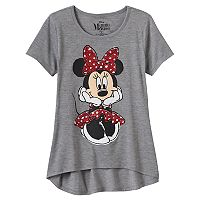 Disney's Minnie Mouse Girls 7-16 Short Sleeve Glitter Graphic High-Low Hem Tee