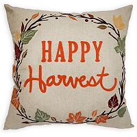 Celebrate Fall Together ''Happy Harvest'' Wreath Throw Pillow
