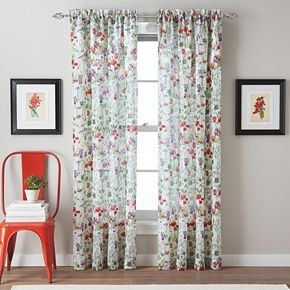Botanical Garden 1-Panel Crushed Voile Sheer Window Curtain