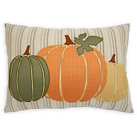 Celebrate Fall Together Appliqued Pumpkins Oblong Throw Pillow