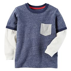 Baby Boy Carter's Pocket Slubbed Contrast Long Sleeve Blue Ringer Tee