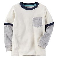 Baby Boy Carter's Pocket Slubbed Contrast Long Sleeve Ringer Tee