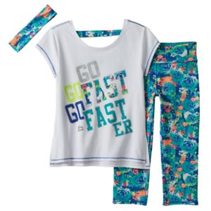 Girls 7-16 RBX Graphic Tee, Printed Capri Leggings & Headband Set