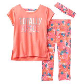 Girls 7-16 RBX Graphic Tee, Printed Capri Leggings & Headband Set