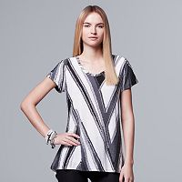 Petite Simply Vera Vera Wang Abstract Jacquard Tee